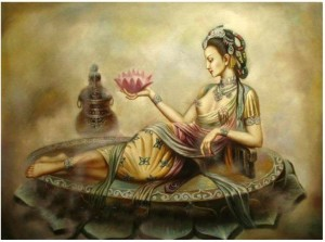 Oil-painting-portrait-China-fairy-lotus-flower-24x36-Guaranteed-100-Free-shipping